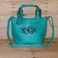 Monogrammed Small Teal Crossbody Bag - Convertible Personalized Purse - Monogram Cross body - Turquoise Shoulder Bag - 2 bags in 1