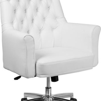 Mid-Back Traditional Tufted White Leather Executive Swivel Office Chair with Arms [BT-444-MID-WH-GG]