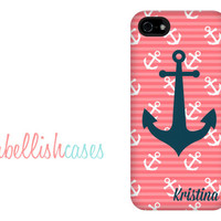 monogrammed iPhone 5c case, anchor iphone 5s case, personalized your name initials, coral striped preppy anchor nautical case, iPhone 5, 4