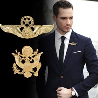 2016 Brooches European And American Fashion Pin Buckle Personalized Retro Vest Double - Headed Eagle Badge Men 's Suit Brooch