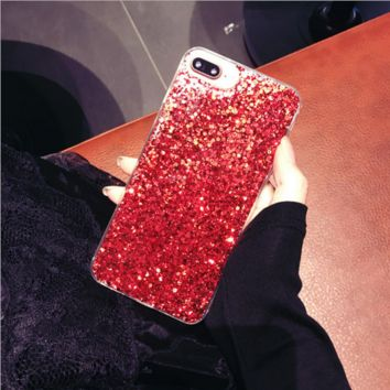 Bright red glitter   iPhone 7 7Plus & iPhone 6 6s Plus Case + Gift Box