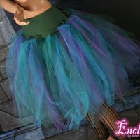 Peacock Streamer tutu skirt teal purple green Halloween -- You Choose Size -- Enchanted