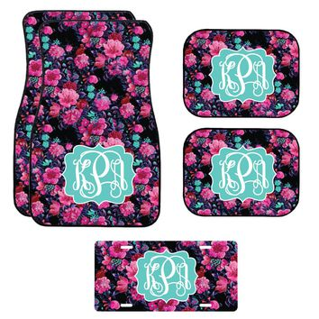 Black and Pink Floral Car Mat /Plate & Frame / Seat belt cover / Key Chain / Car Coaster / Car Accessory Gift  Set