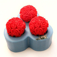 Rose Flower Ball Soap Mold Silicone Candle Craft Fondant Cake Decorating Mould