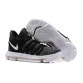 2017 Nike Mens Kevin Durant Kd 10 Black/white Basketball Shoes - Beauty Ticks