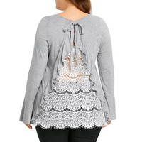 Plus Size Women's Bell Sleeve Back Lace Blouse