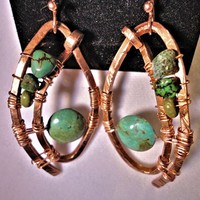 Hand forged Copper and Turquoise Earrings