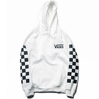 Vans Autumn And Winter New Fashion Bust Letter Print And Sleeve Plaid Print Women Men Hooded Long Sleeve Sweater Top White