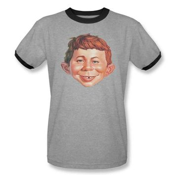 Mens MAD Magazine Alfred Face Ringer Tee Shirt