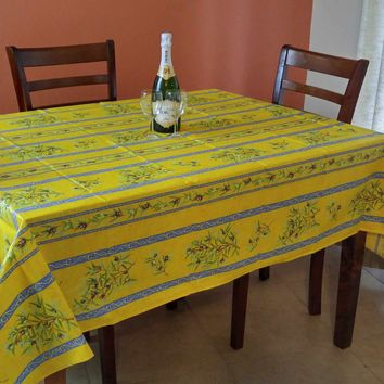 French Tablecloth Provencal Acrylic Coated Cotton Olive Yellow Blue 61x78