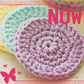 Crocheted Face Scrubbies set of 5 - 100% Cotton,Crochet Scrubbies, Facial Cloths, Facial Scrubbies, Cotton Face Scrubbies, makeup pads