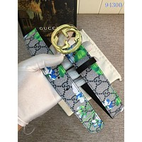 GUCCI Woman Men Fashion Flower Smooth Buckle Belt Leather Belt
