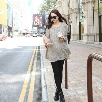 2016 Spring autumn maternity clothes Pregnant women dress the lace pattern Pregnancy wear round collar blouse