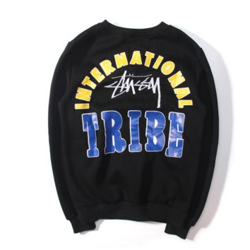 Stussy Tribe Embroidered Womens Color Blocking Sweater Pullovers