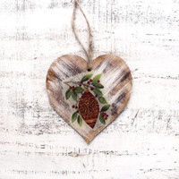 1 heart ornament Christmas ornament Scandinavian Christmas decoration rustic cottage chic shabby chic red white green brown