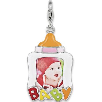 925 Sterling Silver Enameled Baby Bottle Picture Frame Dangle Charm