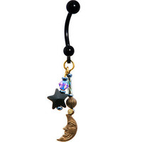 Handcrafted Titanium Celestial Star and Moon Belly Ring MADE WITH SWAROVSKI ELEMENTS | Body Candy Body Jewelry