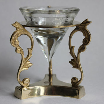 Brass Pedestal Stand Candle Holder with Glass Pyramid Cone Votive Holder, Vintage, Made in India
