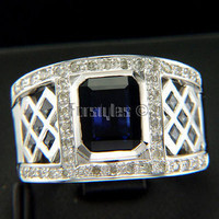 Hot New Natural Sapphire Diamonds 18k Solid Gold Ring