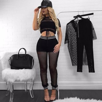 Women sets short sleeve mesh crop top+pencil pants