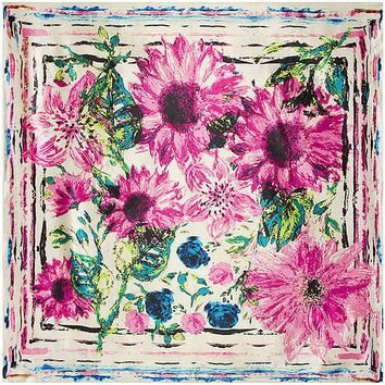 VONESC6 90cm*90cm European Oil Painting Sunflower and Chrysanthemum Floral Printed Brand style women silk satin large square scarf