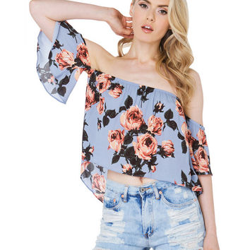 Off Shoulder Butterfly Sleeves Floral Printed Irregular Top
