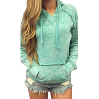 Women V-neck Casual Hoodie Sport Tracksuit Sweatshirts