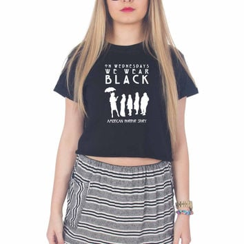 American Horror Story Coven On Wednesdays We Wear black For Womens Crop Shirt ***