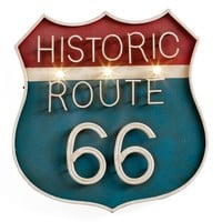 Vintage Route 66 Illuminated Wall Sign