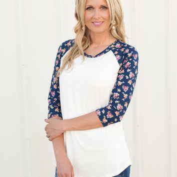 Floral Sleeve Baseball Tee - 2 Colors