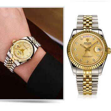 Holuns Men Watches Luxury Top Brand Gold Diamond Stainless Steel