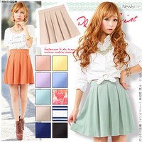 【M~3L】Heavy rotation determined by the simple color variations♪Comfort ◎ punch pleated skirt