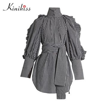 Female blouse lace up black plaid long sleeve blouse shirt women tops fashion sexy blouse