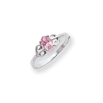 14k White Gold 6x4mm Oval Pink Sapphire Ring