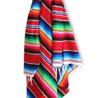 """Del Mex (TM) X-large Mexican Serape Blanket Red (82"""" by 62"""")"""