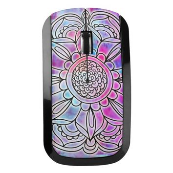 Cotton Candy Floral Mandala Wireless Mouse