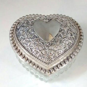 Heart Shaped, Trinket Box, Jewelry Box, Silver, Glass, Vintage