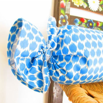 Blue Bolster Pillow, Blue Ikat Pillow, Long Ikat Pillow, Designer Pillows, Capri Blue Pillow, Ikat Cushion, Bolster Cushion, 21x30 Inch