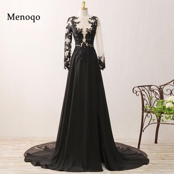 Original Photo A line Long Sleeve Chiffon Lace 2018 Special Occasion Formal Dresses Elegant Women Prom Dresses Black 0213-PRD
