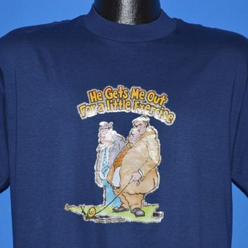 80s He Gets Me Out For a Little Exercise t-shirt Large