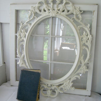 Shabby Chic Baroque Oval Open Frame - Antique White - Ornate Frame - Gallery Frame - Home Decor - Wedding - Romantic - Nursery