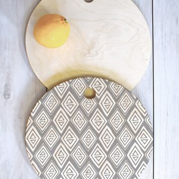 Heather Dutton Diamond In The Rough Grey Cutting Board Round