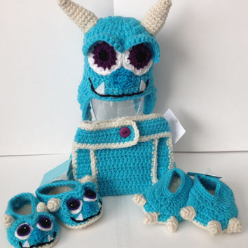 Sulley with stitched mouth from Monsters Inc./ University Baby Outfit - Photo Prop - Newborn to 12 Months