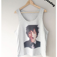 Billie Joe Armstrong Green Day Singer Punk Rock Alternative Rock Pop Punk T-Shirt Singlet Vest Sleeveless Grey Color Unisex Man Woman S,M,L