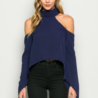 CoCo Navy Blue Cold Shoulder Choker Top