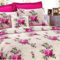 Custom Queen Size Fuchsia Pink Cabbage Roses on Beige Backround Satin Bedding Set