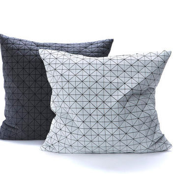 Contemporary Geometric Fabric Pillow Covers-Set Of Two Covers