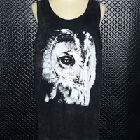 Workout Shirts — Black Stone/ Owl Shirt/ Bird Night/ Unisex Tank Top/ Men Workout Tank/ Animal T Shirt