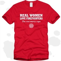Real Women Love Firefighters Ladies Red T-Shirt
