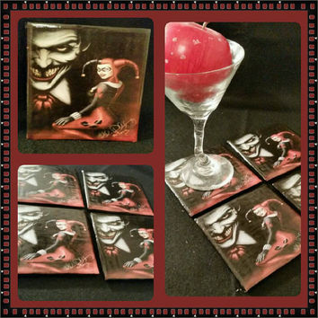 Harley Quinn & Joker ceramic drink coaster or decorative plate handmade DC comic